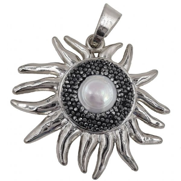 Rhodium Plated Sun Pendant 60 x 55mm x 1 pcs